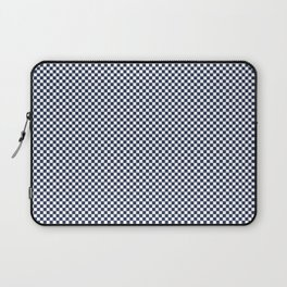Dark Sargasso Blue and White Mini Check 2018 Color Trends Laptop Sleeve