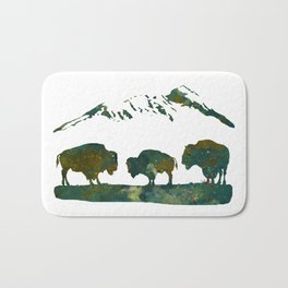 Buffaloes in Nature Scenery Bath Mat