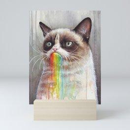 Cat Tastes the Grumpy Rainbow Mini Art Print