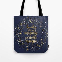 Books Are a Uniquely Portable Magic (Gold) Tote Bag