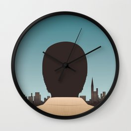 Man Looking Out Over City Wall Clock