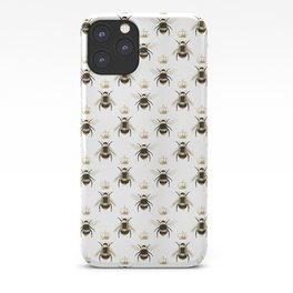 Gold Queen bee / girl power bumble bee pattern iPhone Case
