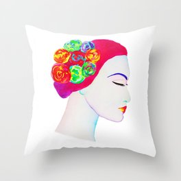 The Girl with the Flowers in her Hair Throw Pillow