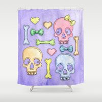 pastel goth Shower Curtains featuring Pastel Skulls by Tumbling Tortoises