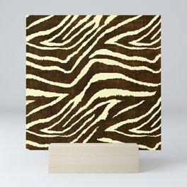 Animal Print Zebra in Winter Brown and Beige Mini Art Print