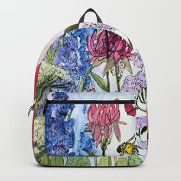 Watercolor Acrylic Cottage Garden Flowers Backpack