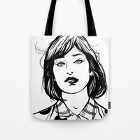 lip Tote Bags featuring Lip Bite by Richard Stuart MacFarlane