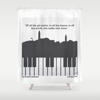 casablanca Shower Curtains featuring No192 My Casablanca minimal movie poster by Chungkong