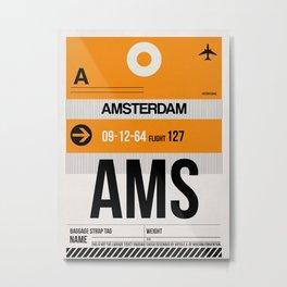 AMS Amsterdam Luggage Tag 2 Metal Print