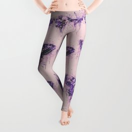 Artsy Butterfly Mixed Media Art  pastel pink and purple Leggings