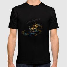 Space Dragon Mens Fitted Tee MEDIUM Black