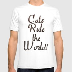 Cats Rule the World Mens Fitted Tee White SMALL