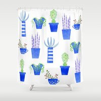 succulents Shower Curtains featuring Succulents by Nic Squirrell