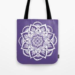 Ultraviolet Flower Mandala Tote Bag