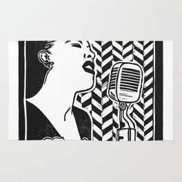 Lady Day (Billie Holiday block print blk) Rug