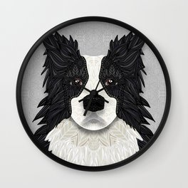 Black Border Collie Wall Clock
