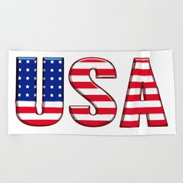 United States Font with American Flag Beach Towel