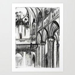Saint Patrick's Cathedral (charcoal)  Art Print