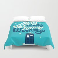 risa rodil Duvet Covers featuring Wibbly Wobbly Timey Wimey by Risa Rodil