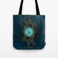 monogram Tote Bags featuring Monogram L by Britta Glodde