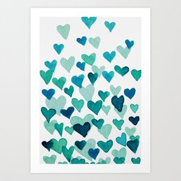 Valentine's Day Watercolor Hearts - turquoise Art Print