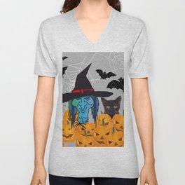Witch bats pumpkin Halloween Unisex V-Neck