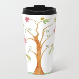Surrealist tree in bright colors Metal Travel Mug