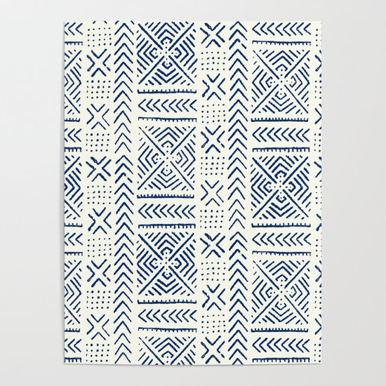 Line Mud Cloth // Ivory & Navy by thinlinetextiles