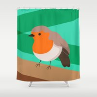 robin Shower Curtains featuring Robin by Sam Osborne