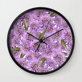 Botanic pink lilac lavender green floral Wall Clock