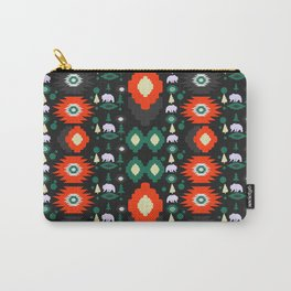 Traditional Christmas pattern with bears and trees Carry-All Pouch