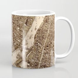 Vintage Pictorial Map of Troy NY (1881) Coffee Mug