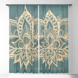 Gold Lotus on Emerald Green Sheer Curtain