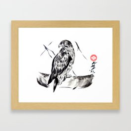 Hawk, Traditional Sumi-e Ink Wash Painting Framed Art Print