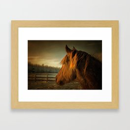 Horse Along a Fence in Snow in Winter. Golden Age Painting Style. Framed Art Print