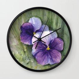 Purple Pansies Watercolor Flowers Painting Violet Floral Art Wall Clock