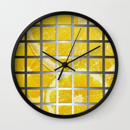 Lemon Slices & Square Grid Collage Metallic Wall Clock
