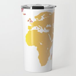 world map ombre pink Travel Mug