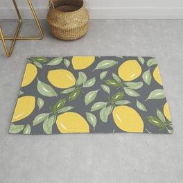 Watercolor Lemons and Greenery Rug
