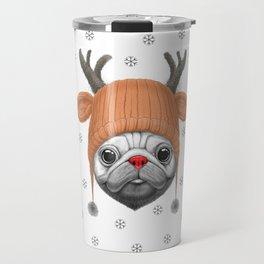 Pug Rudolph Travel Mug