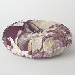 In The Year Of Our Lord: Wine (smiling lady with petunias) Floor Pillow