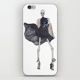 skeleton in leather & fur iPhone Skin