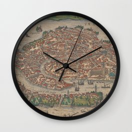 Vintage Map of Venice Italy (1572) Wall Clock