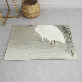 Little egret (1900-1930) by Ohara Koson (1877-1945) Rug