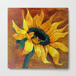 Portrait of a Sunflower still life painting Metal Print