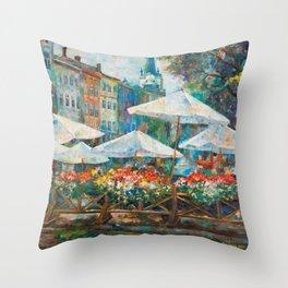 Lviv city center Throw Pillow