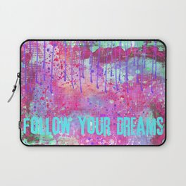 Follow your dreams colorful typography art Laptop Sleeve