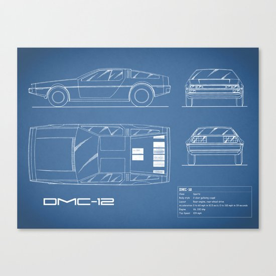 The delorean dmc 12 blueprint canvas print by markrogan society6 malvernweather Gallery