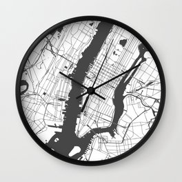 New York City White on Gray Street Map Wall Clock
