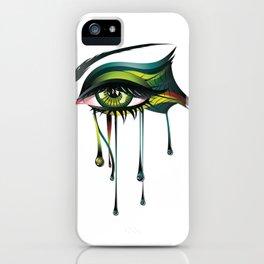 Carnival style green eye iPhone Case